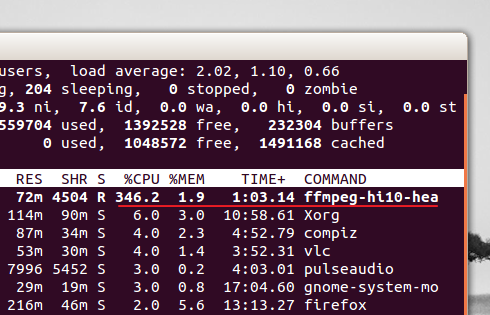 'top' showing that most of my 4 cores are being used by 'ffmpeg ...'