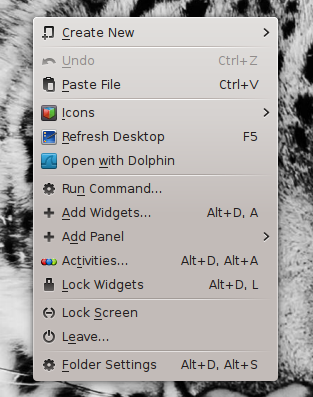 Desktop context menu of KDE on 'Manjaro' 0.8.9