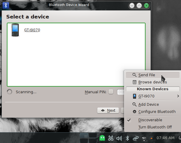 Manjaro 0.8.9 KDE running Bluetooth manager