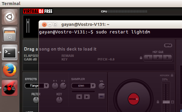 Recovering stuck Ubuntu desktop - 'Virtual DJ' issue 1