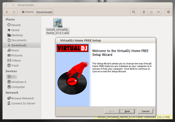 Running 'Virtual DJ' 7.4.1 installer on Ubuntu 13.10