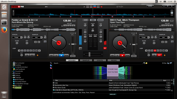 'Virtual DJ' (7.4.1) running on Ubuntu 13.10