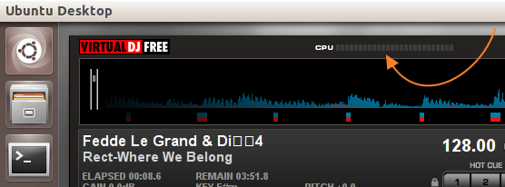 'Virtual DJ' CPU usage indicator not working in Ubuntu 13.10