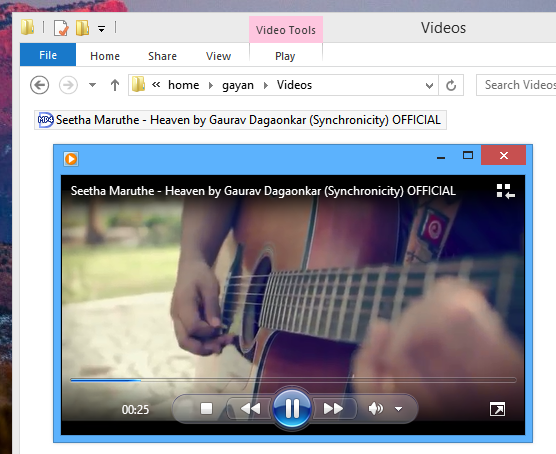 Windows Media Player playing the video file without errors using 'ExtFS for Windows'
