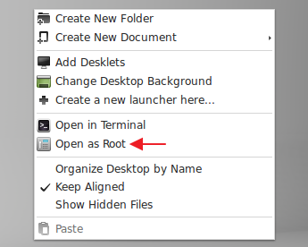 Desktop context menu changes in 'LMDE 201403' Cinnamon