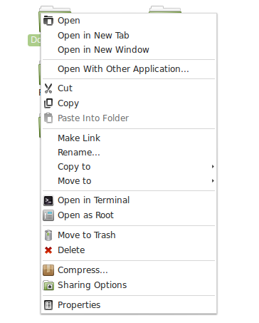 File-folder select context menu in 'Nemo' - 'LMDE 201403' Cinnamon