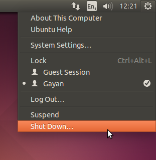 System menu in Ubuntu 14.04 LTS