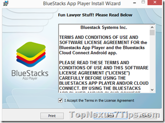 first page to install bluestack offline installer