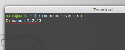 Cinnamon desktop version shown in Terminal - LM 17