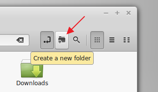 'Create a new folder' icon on Nemo's main toolbar - LM 17 Cinnamon
