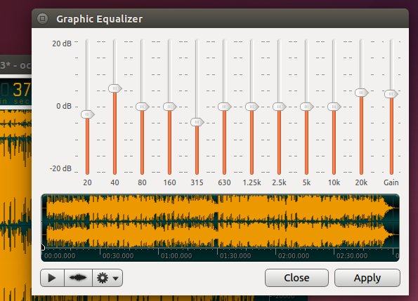 Graphic Equalizer - 'ocenaudio' (Ubuntu 14.04LTS)