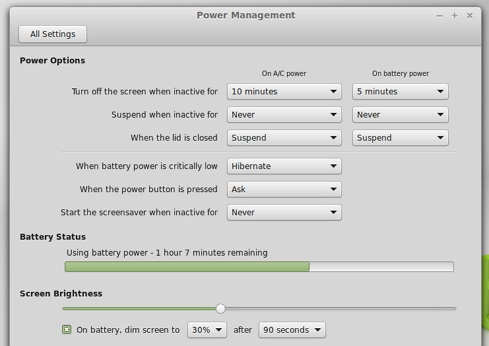 New Power Management window in LM 17 Cinnamon