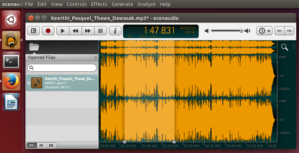 'ocenaudio' (2.0.5) running on Ubuntu 14.04 LTS