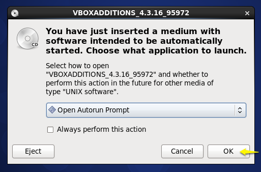 Clicking the 'guest addtions' OK box in CentOS 6.5 virtual machine
