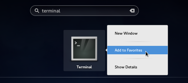 Adding Applications icons to Favorites in GnomeShell (Fedora 21)