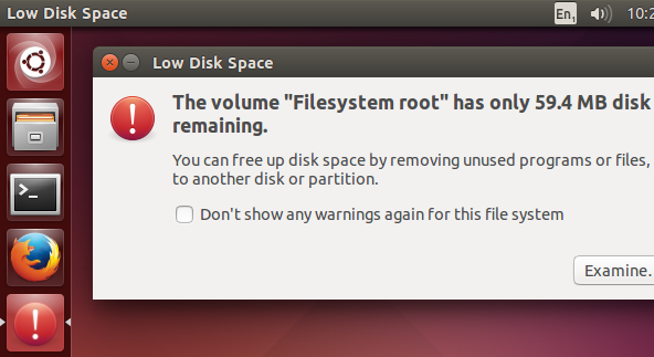 Low disk space warnings in Ubuntu 14.10