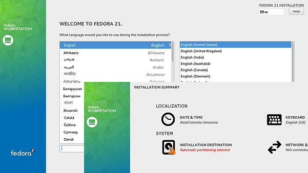 Welcome Screen of Fedora 21 Installer