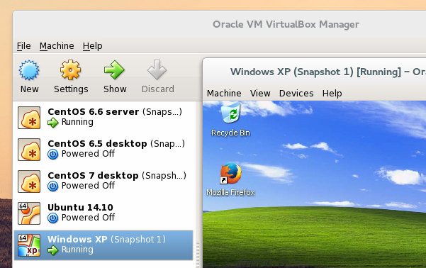 'VirtualBox 4.3.2...' running Fedora 21 Gnome Edition