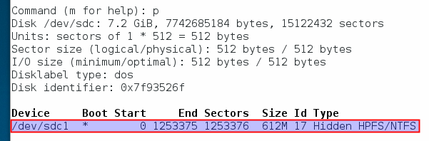 'fdisk' showing the partition table of the pendrive that needs correction (Fedora 21)