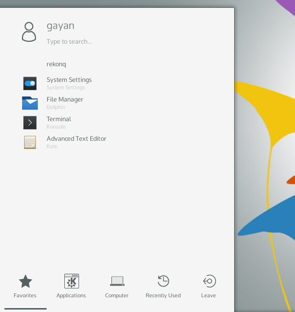Icon based app launcher of Plasma 5 ('KaOS 2015.02')