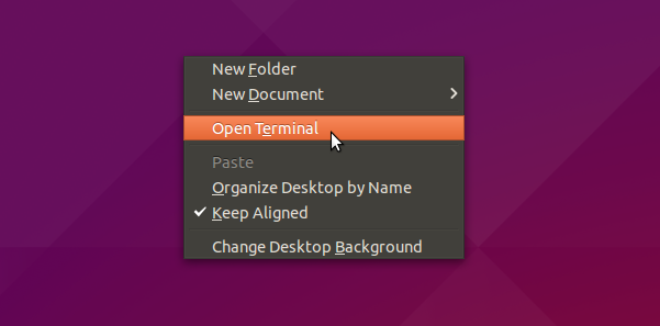 New 'Open Terminal' menu option in Ubuntu 15.04 Unity
