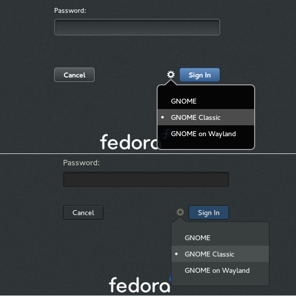 Login Window (Fedora 21 vs 21)