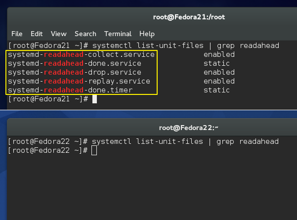 No 'readahead' in Fedora 22