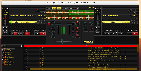 Mixxx-1.12.0-beta1-running-on-Fedora-22