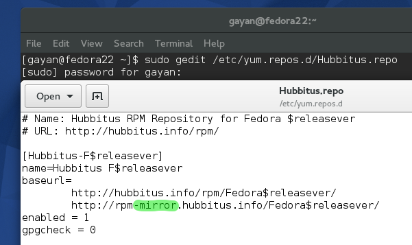 Correcting the Hubbitus_repo to a working one (Fedora 22)