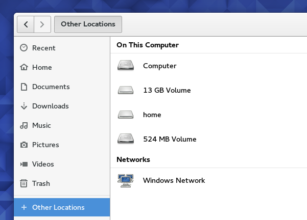 '+ Other Locations' entry on 'Files' (Fedora 23)