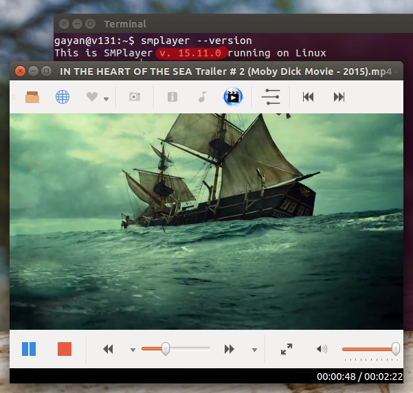 SMPlayer 15.11 running on Ubuntu 15.10
