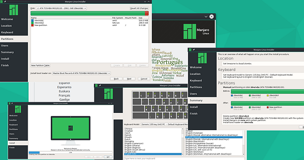 Manjaro 15.12 KDE, Installer in action