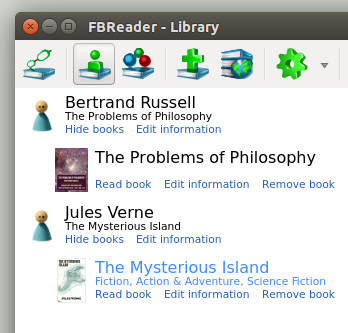FBReader 0.99.4 e-library (Ubuntu 15.10)