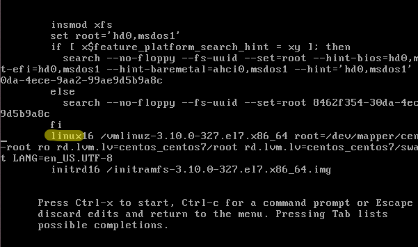 Finding the correct line in GRUB editing window (CentoOS 7)