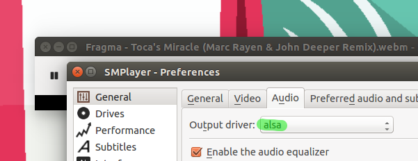 Changing audio output to alsa in SMPlayer (Ubuntu 15.10)