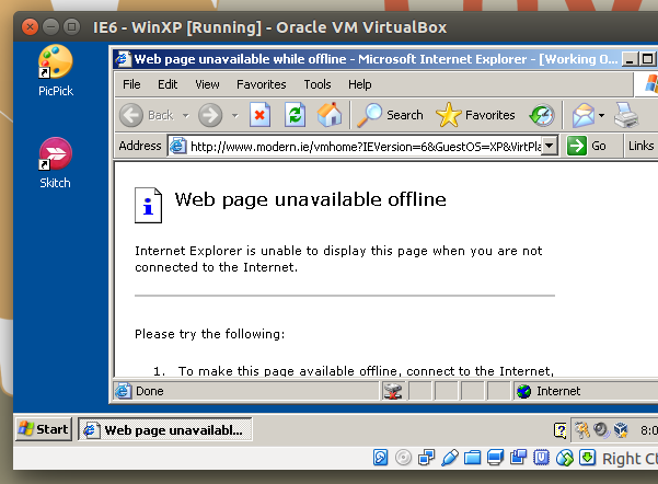 Windows XP virtual machine running on Ubuntu 15.10 Host (VirtualBox 5) without internet access
