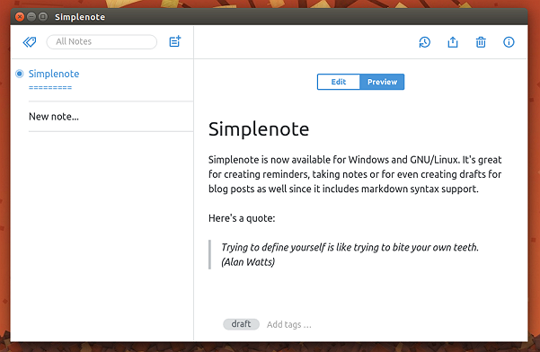 Simplenote running on Ubuntu 15.10 with markdown syntax support enabled