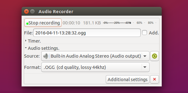 Audio Recorder 1.7 running on Ubuntu 15.10