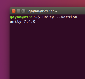 Terminal showing the Unity desktop version (Ubuntu 16.04 LTS)