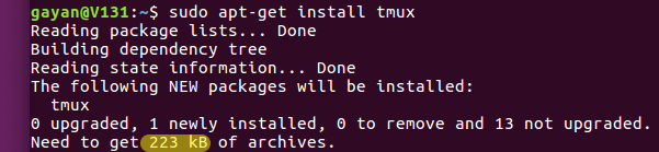 'tmux' installation size using the traditional apt-get (Ubuntu 16.04 LTS)