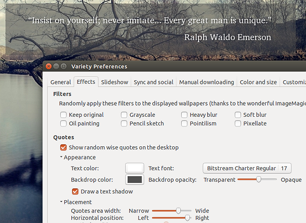 Variety wallpaper changer quotes customization options (Ubuntu 16.04 LTS)