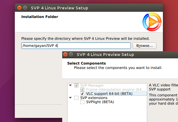 SVP GUI Installer in action (on Ubuntu 16.04 LTS)