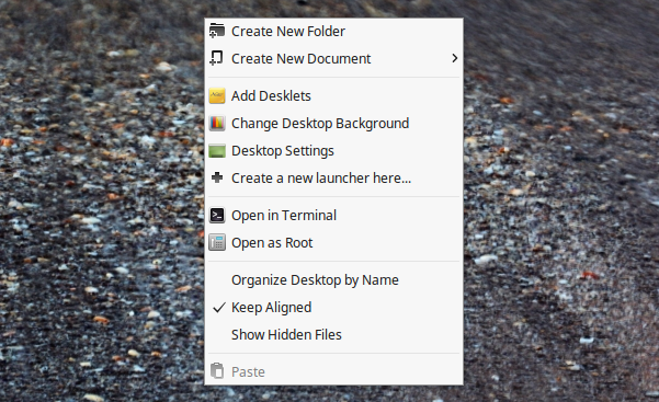Desktop context menu (Linux Mint Cinnamon 18)
