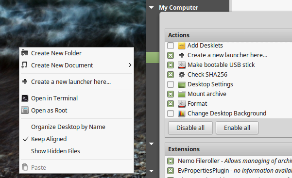 Desktop context menu after customizing through Nemo (Linux Mint 18)
