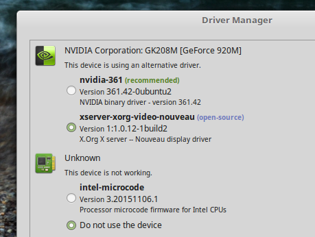 Driver Manager (Linux Mint 18 Cinnamon)