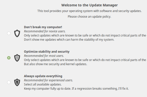 New Update Manager Settings page (Linux Mint 18 Cinnamon)