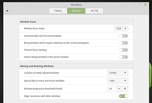 Tabbed window approach to System Settings (Linux Mint 18 Cinnamon)