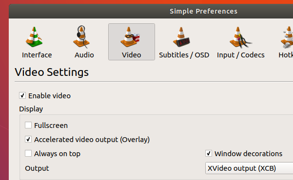 VLC-freezing-issue-fixed-after-changing-the-video-output-to-XVideo-Ubuntu-17.10